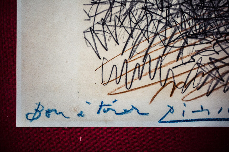 Picasso's artist proof showing his signature and comment, bon a tirer.
