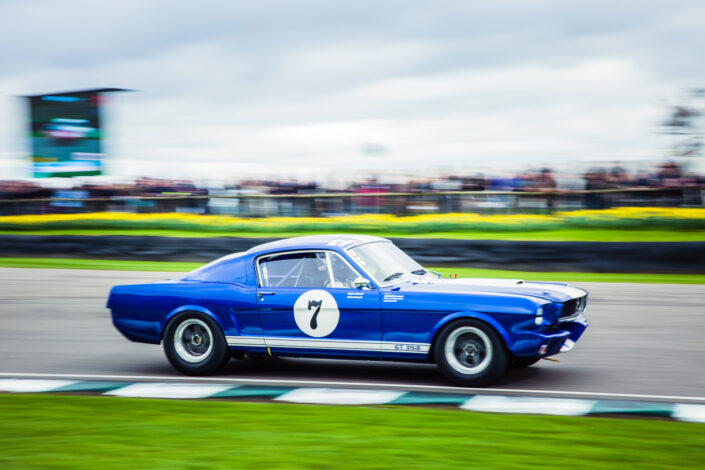 Ford Shelby Mustang GT350 with No7 marking racing with the crowd and a large screen in the background
