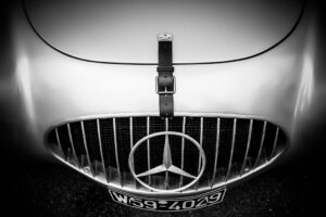 Mercedes Benz W194 bonnet and grill with three pointed star and original registration plate of W59 4029