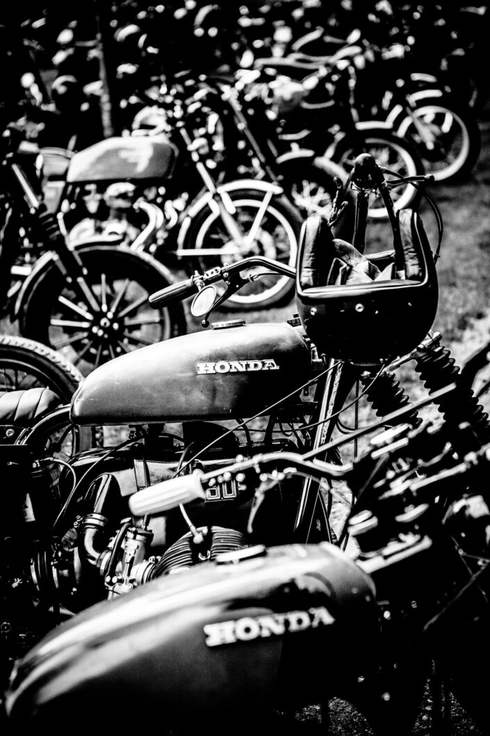 A line up of Honda motorbikes at the Ralph Lauren RRL Riders Tour