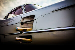 Mercedes Benz 300 SLR Uhlenhaut Coupé showing the dual exhausts, located on the right hand side of the sportscar.